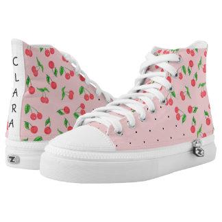 cute watercolor cherry black polka dots pattern high tops