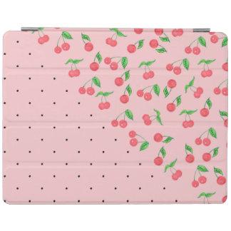 cute watercolor cherry black polka dots pattern iPad cover