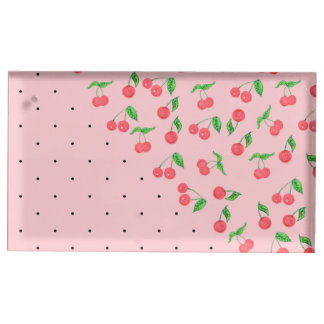cute watercolor cherry black polka dots pattern table card holder