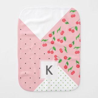 cute watercolor cherry drawing polka dots pattern baby burp cloth