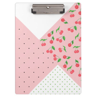 cute watercolor cherry drawing polka dots pattern clipboard