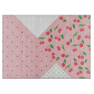 cute watercolor cherry drawing polka dots pattern cutting board