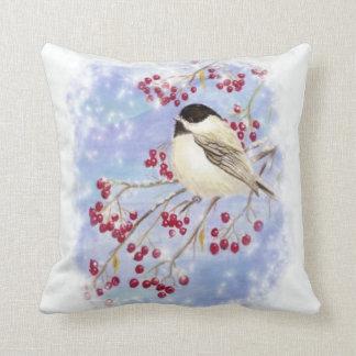Cute Watercolor Chickadee Berries Snow Scene Art Cushion