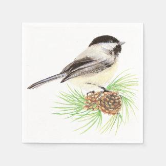 Cute Watercolor Chickadee Bird Pine Tree Paper Napkin