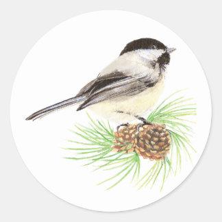 Cute Watercolor Chickadee Bird Pine Tree Round Sticker