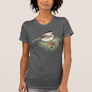 Cute Watercolor Chickadee Bird Pine Tree T-Shirt