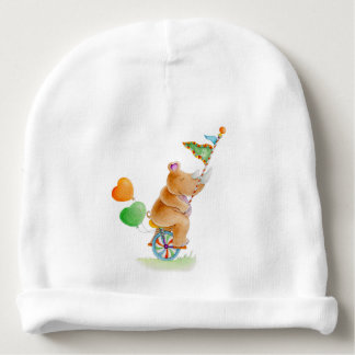Cute watercolor Circus rhino baby hat Baby Beanie