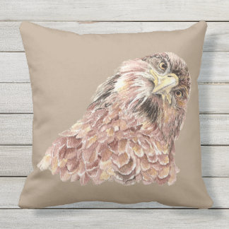 Cute Watercolor Curious Hawk Looking at you Bird Cushion