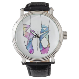 Cute Watercolor Dancing Ballet Shoes for Ballerina Watch