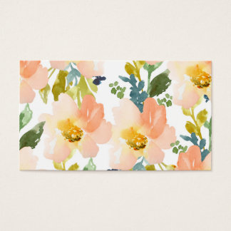 Cute Watercolor Floral Pattern Business Card