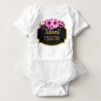 Cute Watercolor Floral Pink Gold Monogram Name Baby Bodysuit