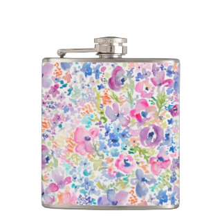 Cute Watercolor Flower Background Hip Flask