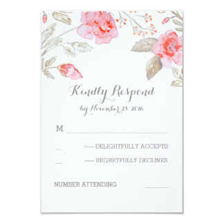 Cute Watercolor Flowers Wedding RSVP Cards 9 Cm X 13 Cm Invitation Card