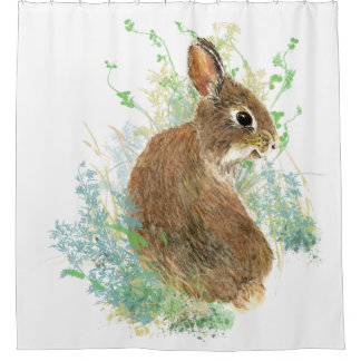 Cute Watercolor Garden Bunny Rabbit Blue, Green Shower Curtain