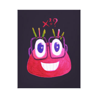 Cute Watercolor Geek Candy Character Mathematician Canvas Print