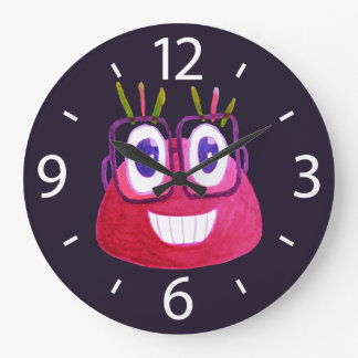 Cute Watercolor Geek Glasses Candy Character Kids Large Clock