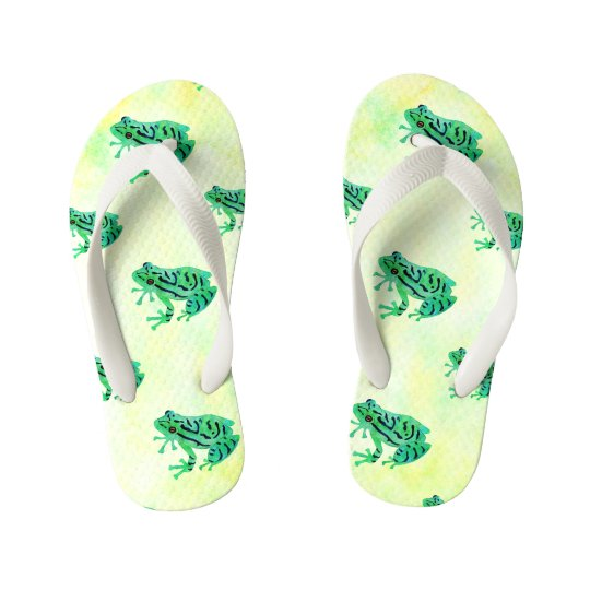 Cute Watercolor Green Tree Frogs Kid's Thongs
