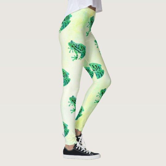 Cute Watercolor Green Tree Frogs Leggings