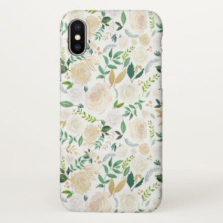 Cute Watercolor Ivory Gold Floral Pattern iPhone X Case