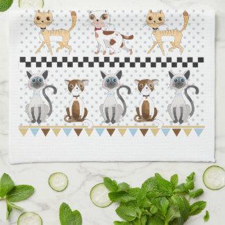 Cute Watercolor Kitty Cat Tea Towels