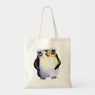 Cute watercolor penguin with big eyes tote bag