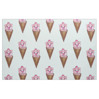Cute Watercolor Piggy Ice Cream Pink Teal Pattern Fabric