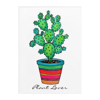 Cute Watercolor Prickly Cactus In Beautiful Pot Acrylic Wall Art