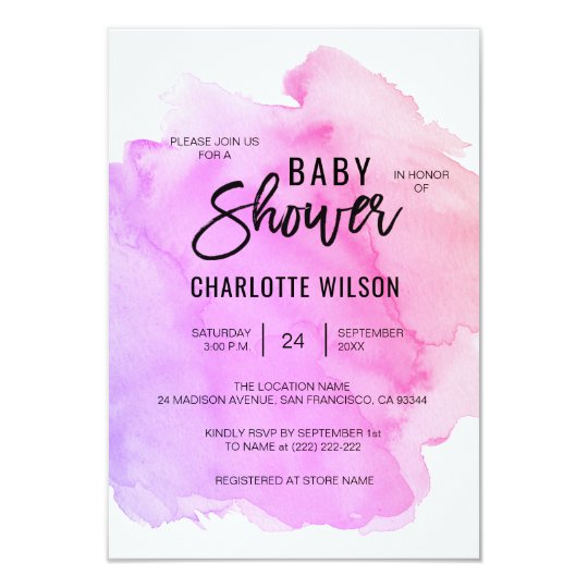 Cute Watercolor Purple Pink Peach Girl Baby Shower Card