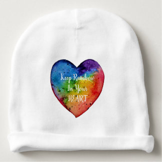 Cute Watercolor Rainbow Heart Baby Beanie