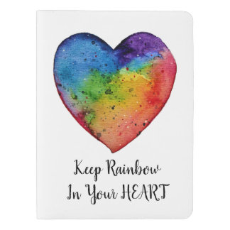 Cute Watercolor Rainbow Heart Extra Large Moleskine Notebook