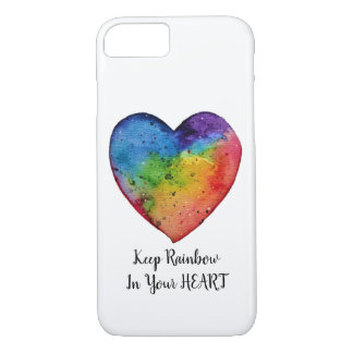 Cute Watercolor Rainbow Heart iPhone 8/7 Case