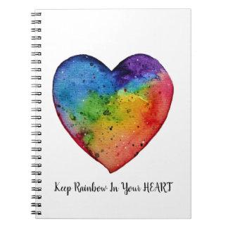 Cute watercolor Rainbow Heart Notebooks