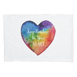 Cute Watercolor Rainbow Heart Pillowcase