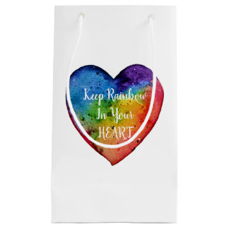 Cute Watercolor Rainbow Heart Small Gift Bag