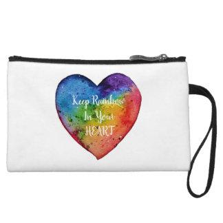 Cute Watercolor Rainbow Heart Wristlet