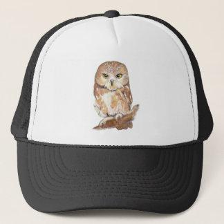 Cute Watercolor Saw Whet Owl, Bird, Animal Trucker Hat
