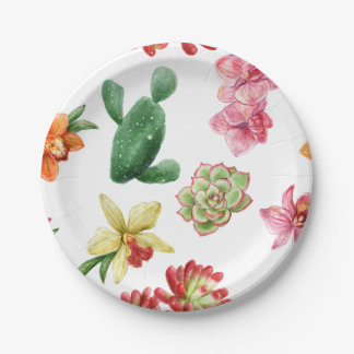 Cute Watercolor Succulent hand drawn pattern 7 Inch Paper Plate