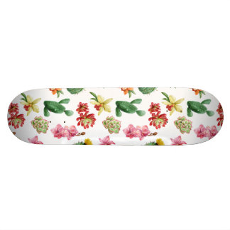 Cute Watercolor Succulent hand drawn pattern Custom Skateboard