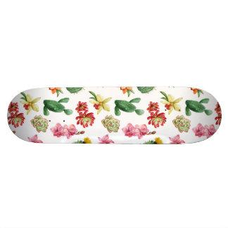 Cute Watercolor Succulent hand drawn pattern Skateboard Deck