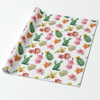 Cute Watercolor Succulent hand drawn pattern Wrapping Paper