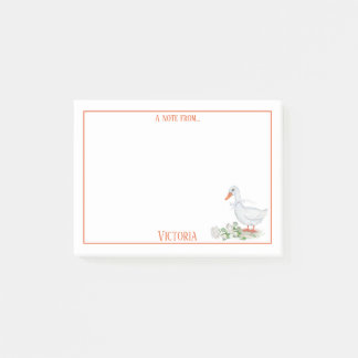 Cute Watercolor White Duck White Roses Monogram | Post-it Notes