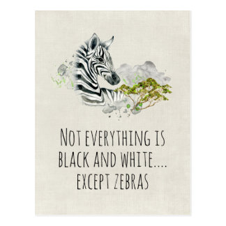 Cute Watercolor Zebra With Funny Saying Postcard