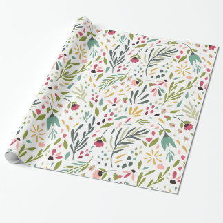 Cute Watercolors Spring Flowers & Leafs Wrapping Paper
