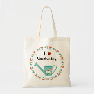 Cute Watering Can & Strawberry   I Love Gardening Budget Tote Bag