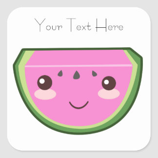 Cute Watermelon Illustration Square Sticker
