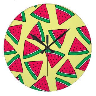 Cute Watermelon Slice Cartoon Pattern Large Clock