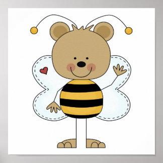 cute waving bumble bee bear poster