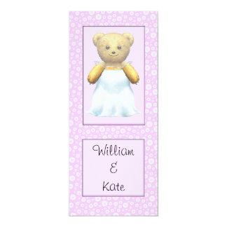 Cute Wedding Bride Teddy Bear 10 Cm X 24 Cm Invitation Card