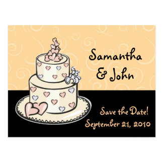 Cute Wedding Cake Save the Date Postcard