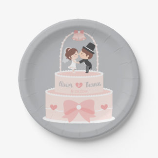 Cute Wedding Cake Topper Bride and Groom Plates